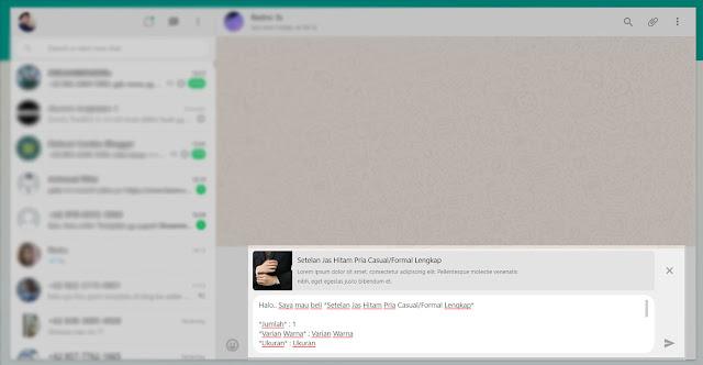 Kirim Pemesanan Melalui Whatsapp