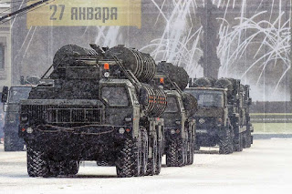 Russian anti-aircraft missile systems C 400 drive during the military parade marking the 75th anniversary of the lifting of the Nazi siege of Leningrad, at Dvortsovaya Square in Saint Petersburg on January 27, 2019.