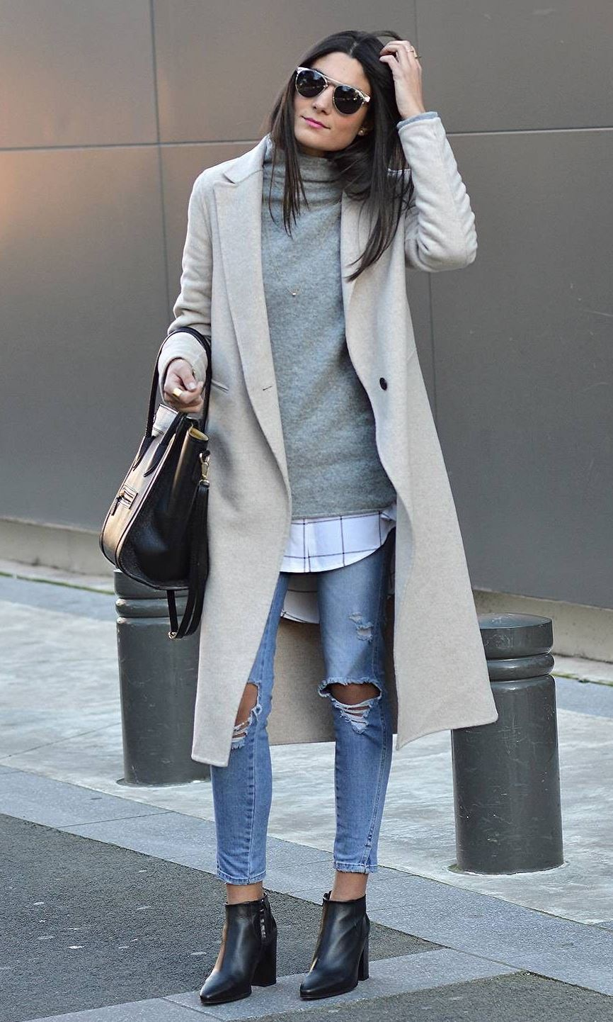 amazing winter outfit / coat + sweater + shirt + bag + ripped jeans + boots