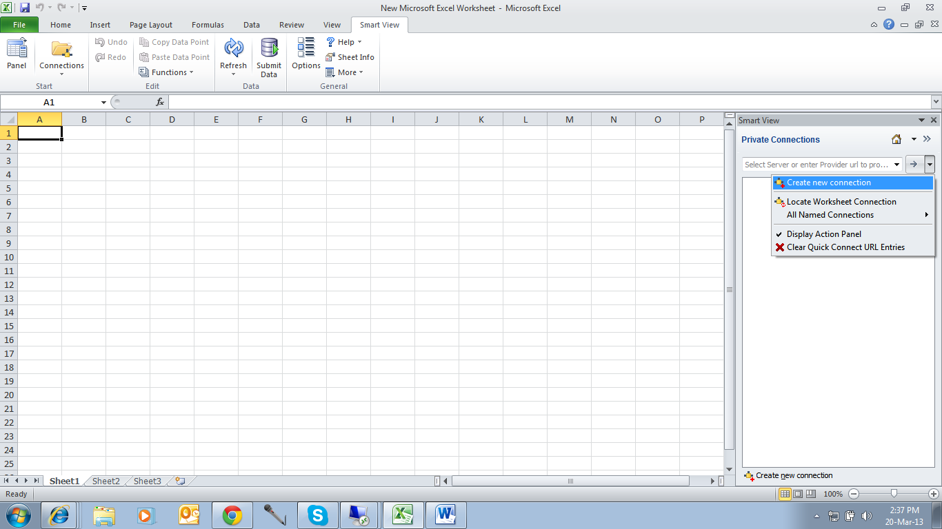 Hyperion Installations And Implementations How To Connect To The Smart View From Excel Sheet In