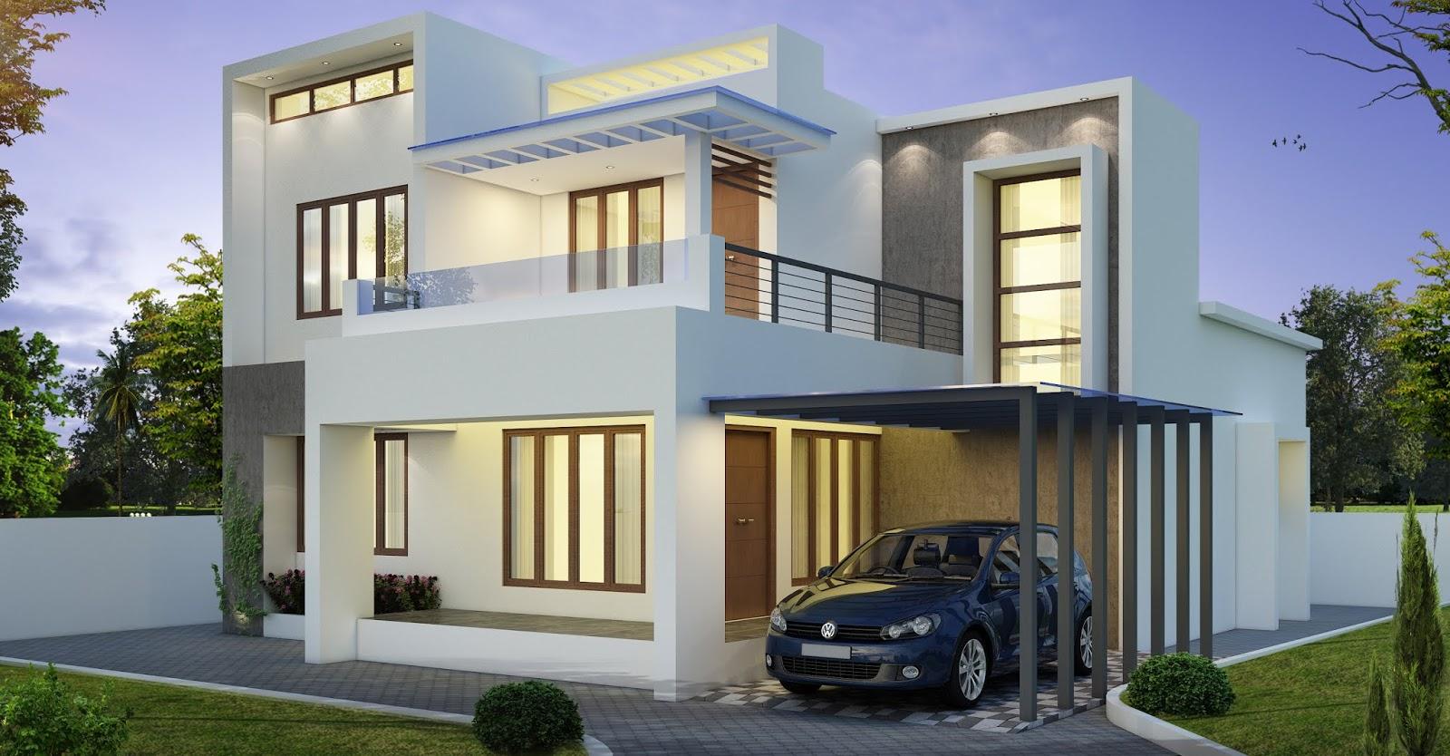 Simple contemporary design 3 Bedroom Kerala home design staircase