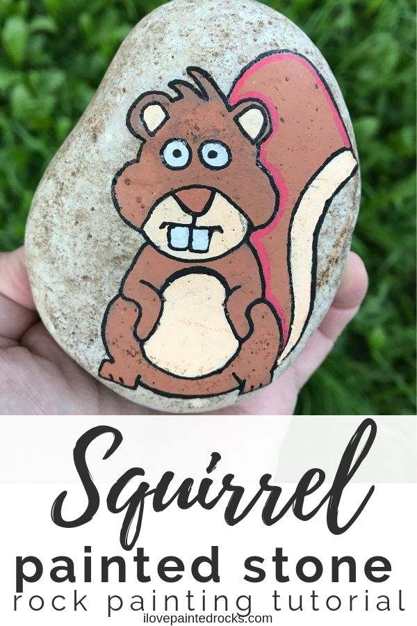 Learn how to paint a squirrel rock with posca paint pens for the hide and seek rock project or just because! #ilovepaintedrocks #kindnessrocks #rockpainting #paintedstones #squirrel #posca