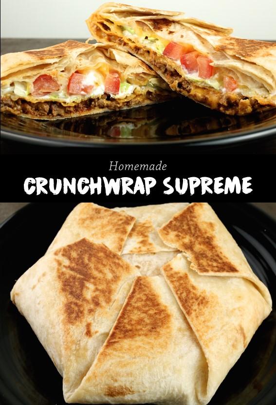 HOMEMADE CRUNCHWRAP SUPREME #Meat #Burrito #Cheese #Crunchwrap #Supreme #Taco #Dinner