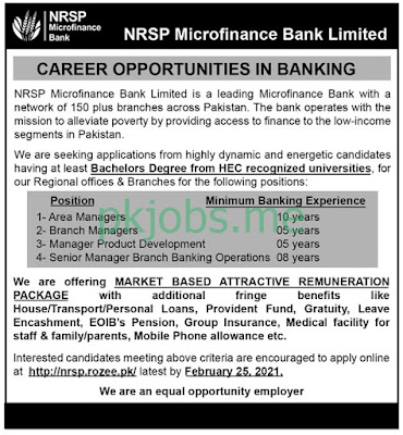 Latest NRSP Microfinance Bank Limited Posts 2021