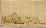 Winter Landscape by Rembrandt Harmenszoon van Rijn - Landscape Drawings from Hermitage Museum