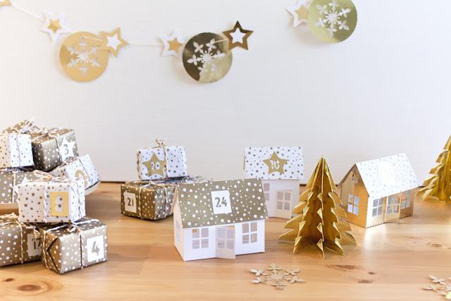 diy calendario de adviento casitas navidad