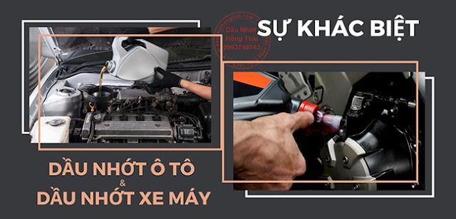 Sự khác biệt giữa dầu nhớt ô tô và dầu nhớt xe máy