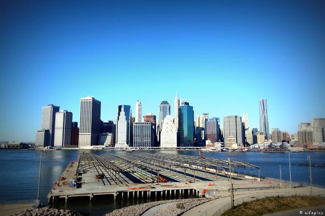 Manhattan vista da Brooklyn Heights-New York