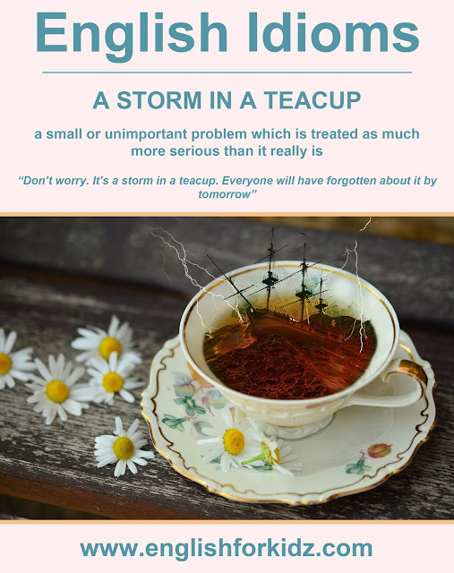 English idiom picture - a storm in a teacup