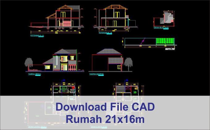 download rumah 21x16 File AutoCad