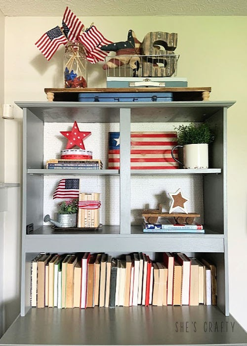 Last minute 4th of july decorating ideas -gray cabinet shelves vignette