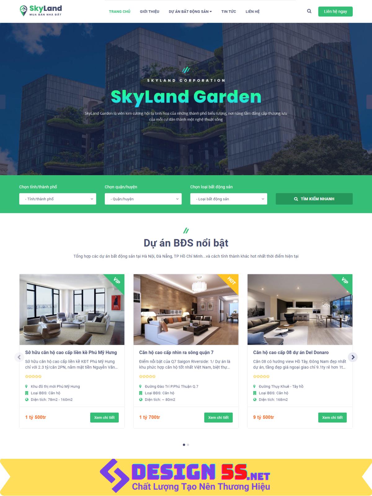mẫu website bất động sản Sky Land Đẹp Chuẩn SEO