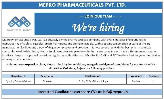 Mepro Pharma | Hiring Freshers in Quality control at Vadodara
