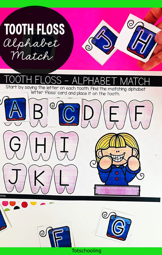FREE printable dental-themed activity for preschool kids to practice ABCs and letter recognition while learning about dental health and hygiene!