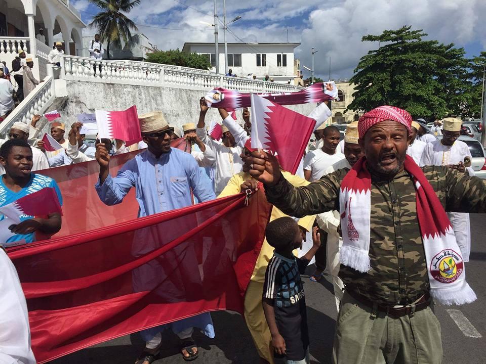 Une manifestation à Moroni le 09 juin 2017 contre la rupture diplomatique entre les Comores et le Qatar