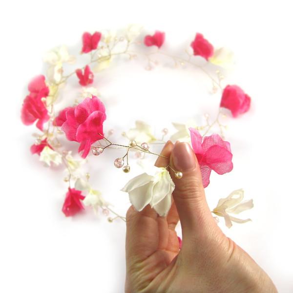 Gałązka ślubna - magnolie, wianek.