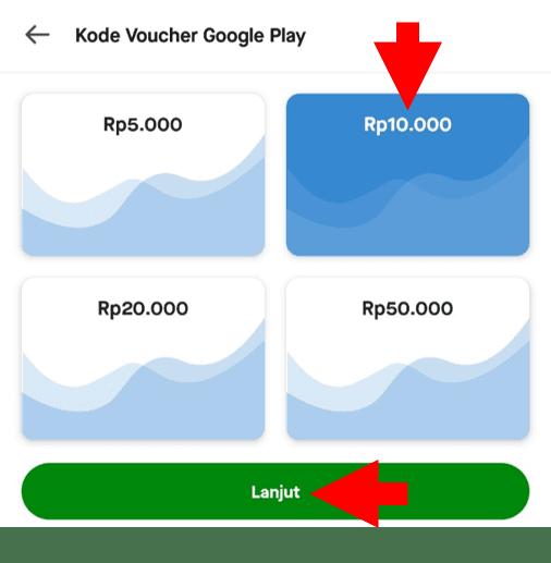 Pilih Nominal Top Up Saldo Google Play