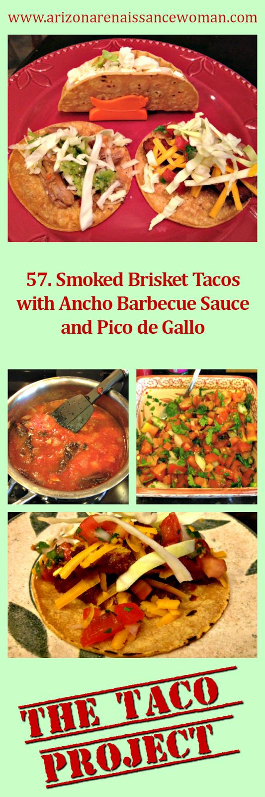 Smoked Brisket Tacos with Ancho Barbecue Sauce and Pico de Gallo Collage