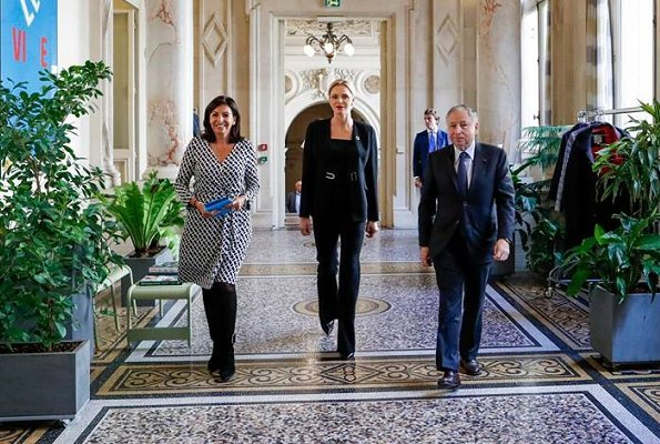 Princess Charlene and other members were received by French President Emmanuel Macron and his wife Brigitte Macron at l'Elysée Palace