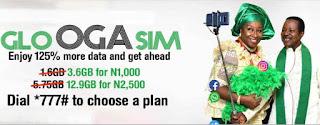 Glo Oga SIM Data Offer still on - Get 1.8GB for N500, 12.9GB for N2500