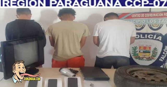 3 Detenidos por robarse un caucho viejo y un secador de pelo   Portaban droga