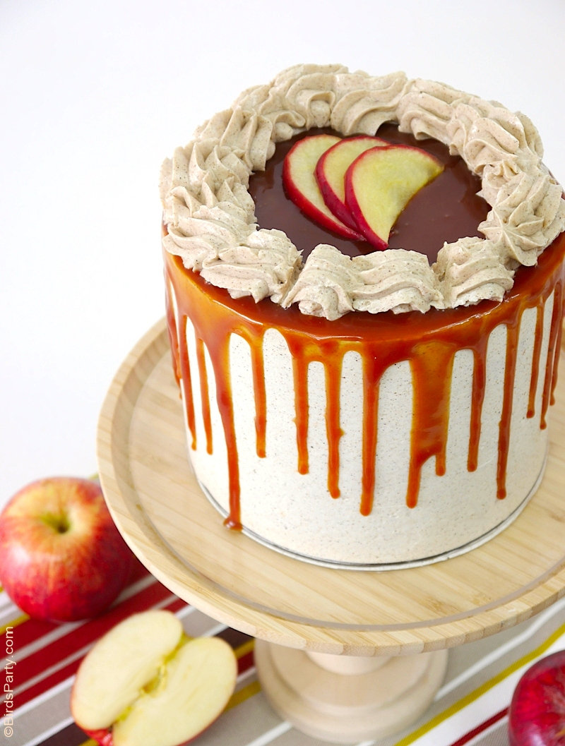 Apple and Cinnamon Layer Cake with Salted Caramel Drip - delicious autumnal cake perfect for a Fall dinner party, birthday or Thanksgiving! by BirdsParty.com @birdsparty #apple #applerecipe #applecake #applelayercake #caramel #saltedcaramel #saltedcaramelrecipe #dripcake #layercake #applecaramellayercake #applecinnamonlayercake #appledripcake #applecarameldripcake
