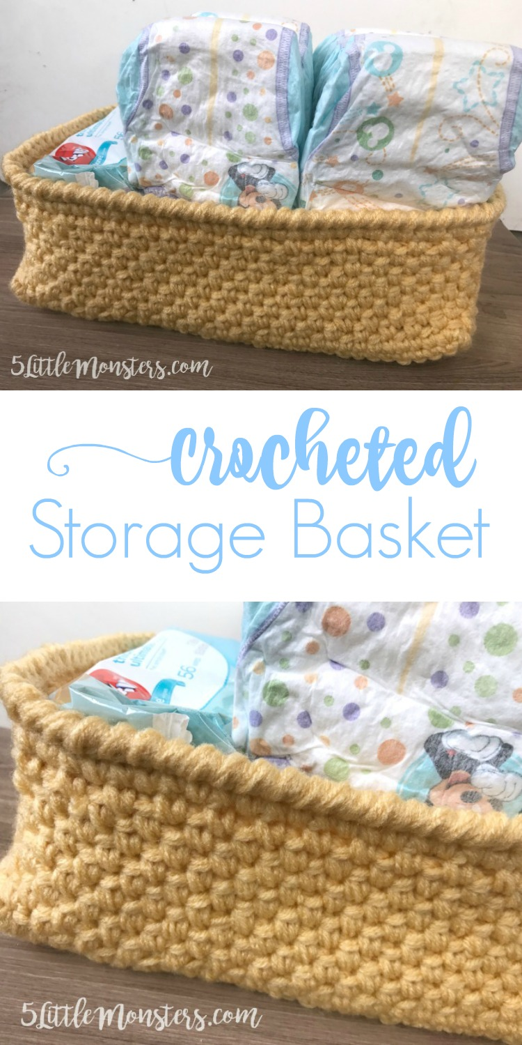Free pattern for a crocheted storage basket perfect for holding diapers and baby wipes
