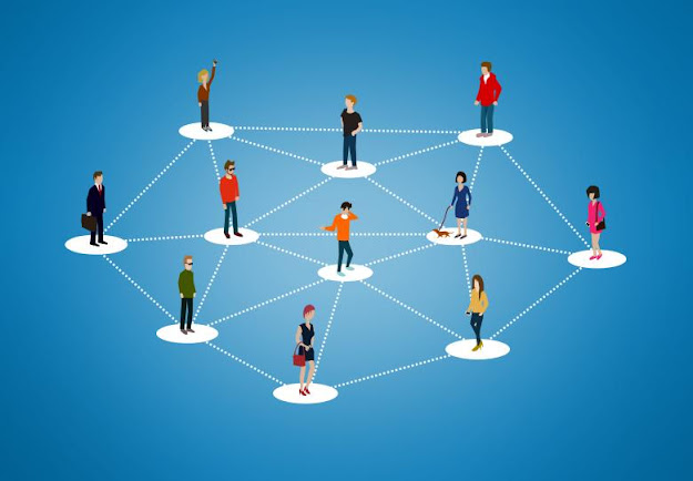 Group of people connected as a network.
