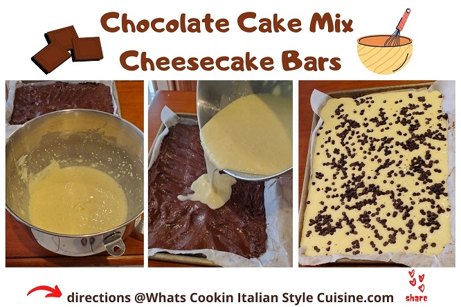 step by step collage on how to make chocolate cake mix cheesecake bars