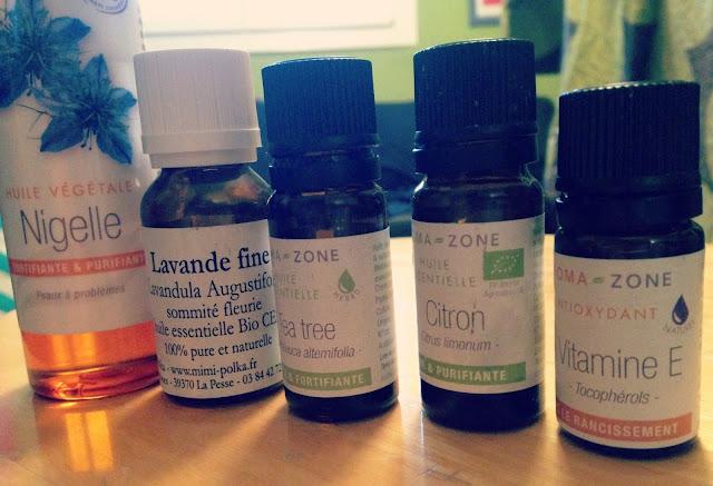 DIY, slow cosmétique, huiles essentielles, aroma zone, huile végétale, nigelle, lavande, tea tree, citron