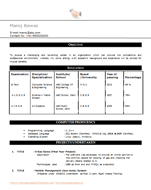 sample resume for freshers btech cse frizzigame