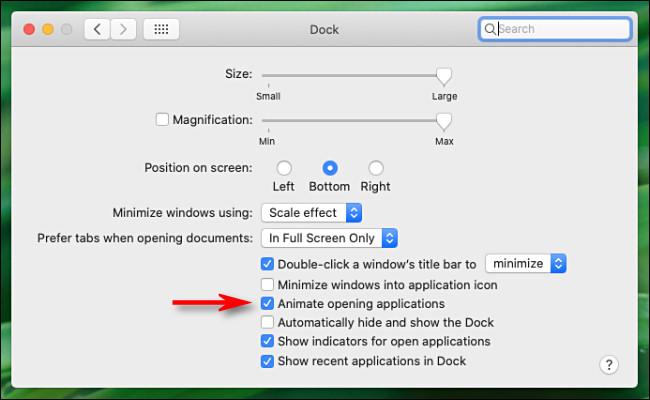 """في تفضيلات """"Dock"""" على نظام Mac ، قم بإلغاء تحديد """"تحريك فتح التطبيقات""""."""