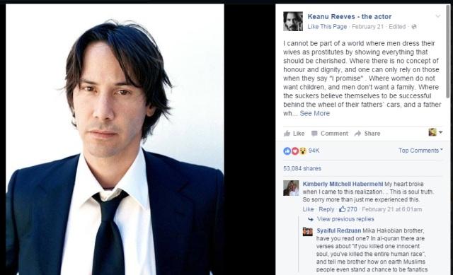 keanu reeves facebook page