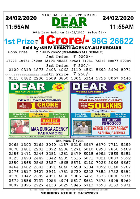 Lottery Sambad 24.02.2020 Sikkim Lottery Result 11.55 AM