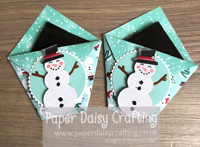 Let It Snow Snowman Builder ounch table favours Stampin Up