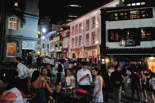 Revellers and diners out on  Ann Siang Hill and Club Street on a Saturday night in Singapore. Photo by Kent Johnson for Street Fashion Sydney.