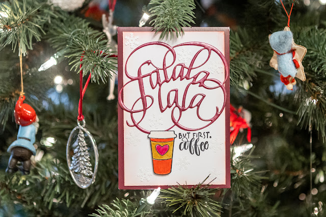 Christmas Gift Card Holder using Falalalala die and But First Coffee stamp set / Dragon Berry Modern Gilding Powders