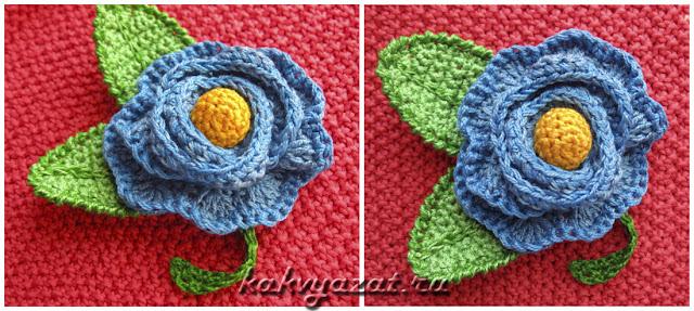 Оригинальный яркий цветок, связанный крючком из хлопка.