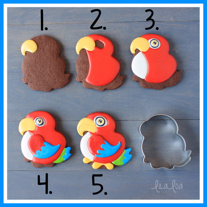 parrot sugar cookie decorating tutorial -- step by step with video