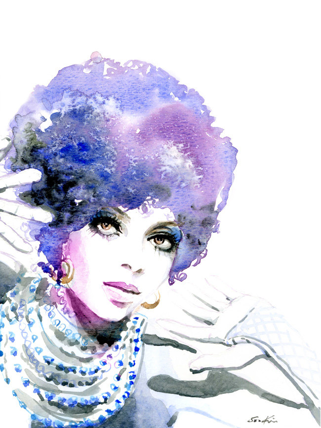 02-Diana-Ross-Soul-Singer-Soo-Kim-Celebrity-Watercolor-Portraits-www-designstack-co