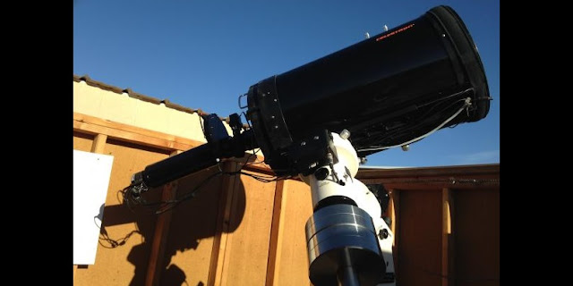 IoIO consists of a 14-inch (35 cm) Celestron Schmidt-Cassegrain telescope feeding a custom-built coronagraph. An Astro-Physics 1100 mount, 80mm offset guide scope, and associated software enable the system to acquire and guide on Solar System targets robotically.