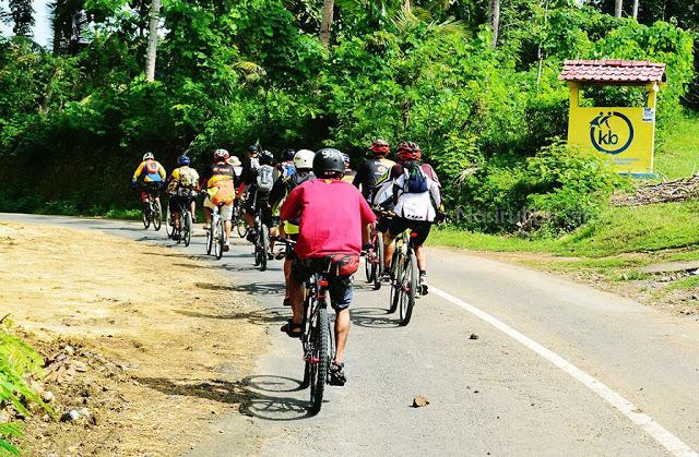 Rombongan pesepeda menyusuri jalan di Kulon Progo
