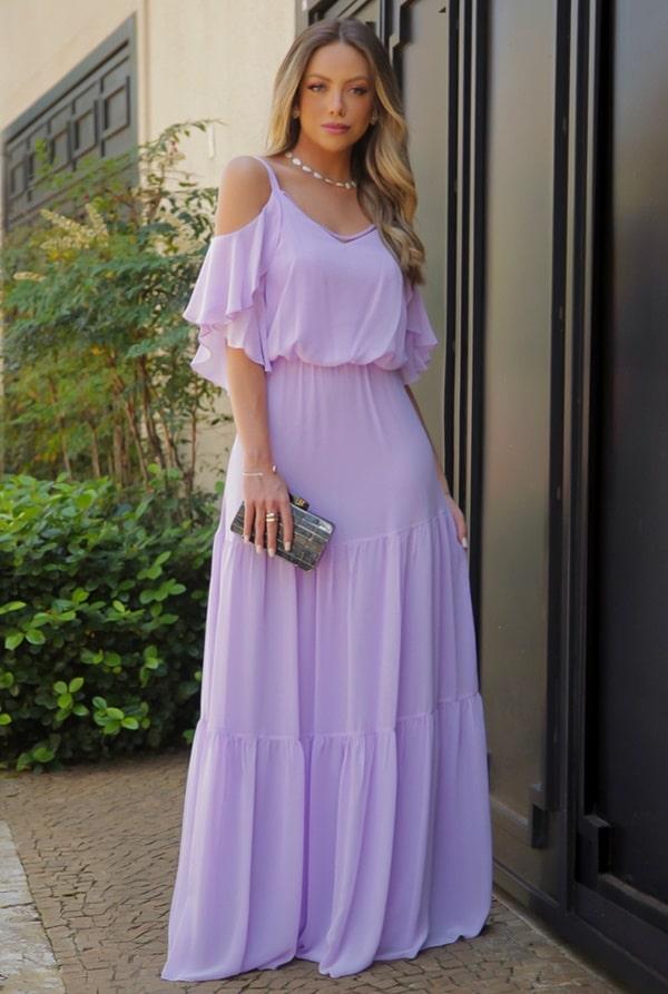 vestido longo lilas para madrinha de casamento mini wedding
