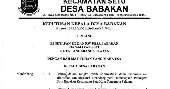 Contoh Surat Keputusan Kelompok Dari Kelurahan / Kantor ...