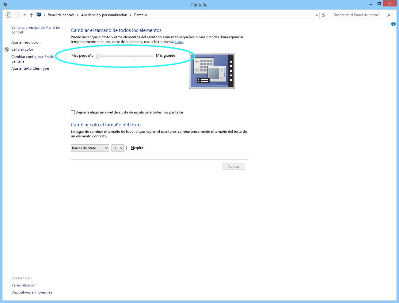 Ajustar tamaño elementos en pantalla para compensar altos PPP