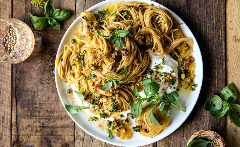 20 Minute Lemon Butter Pasta with Ricotta and Spicy Breadcrumbs