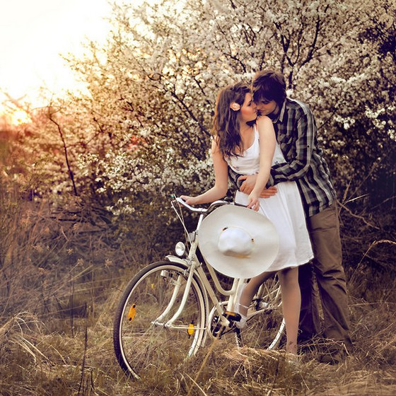 Bicycle, Bike, Blosson, Boy, Cherry, Hug, Romantic, Couple