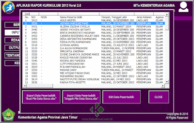 Menu Rapor K13 (Kurikulum 2013) Microsoft Excel MA