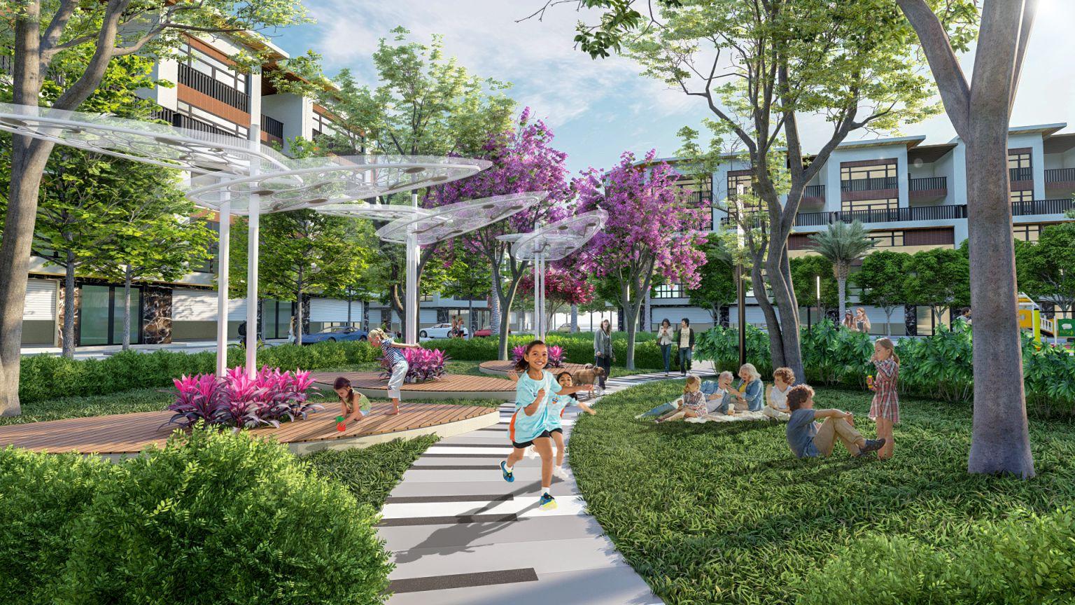 Phối cảnh công viên trung tâm của dự án khu đô thị TNR Stars Chợ Mới