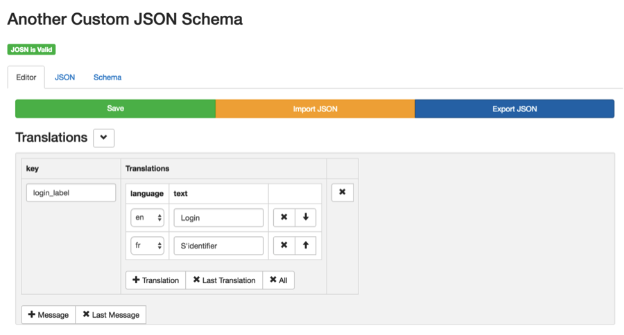 1 json schema for generating ui and validating json